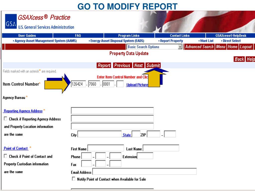 GO TO MODIFY REPORT
