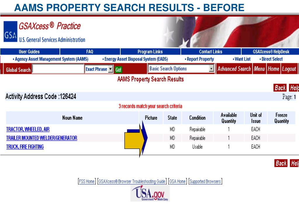 AAMS PROPERTY SEARCH RESULTS - BEFORE