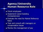agency university human resource role