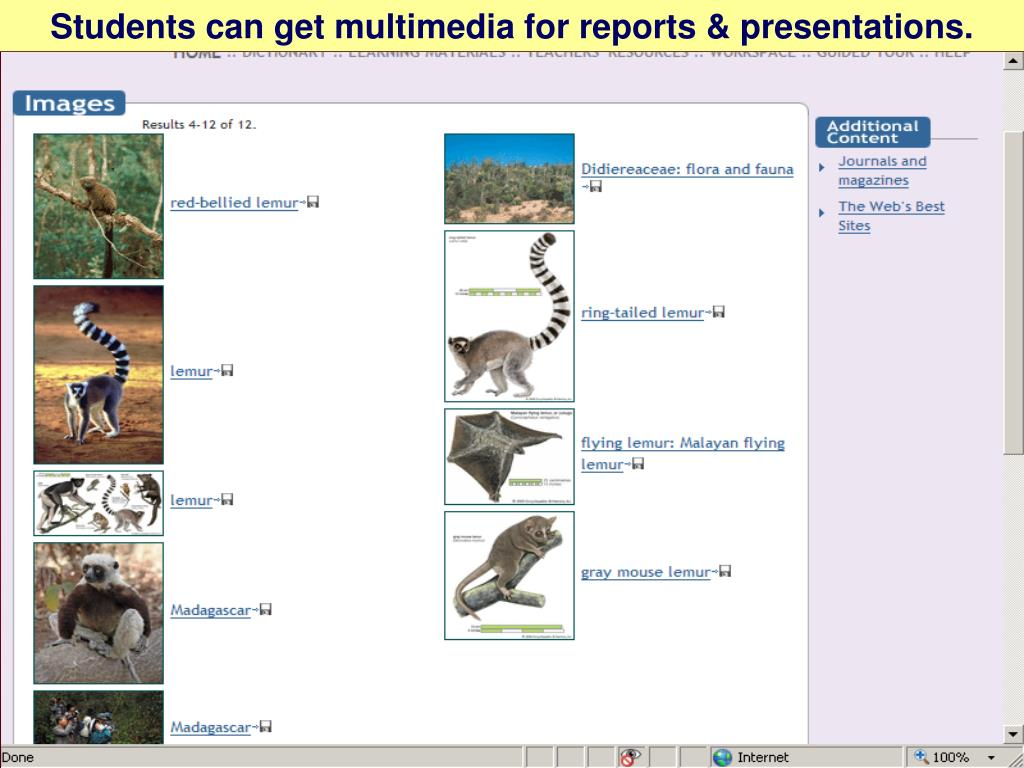 Students can get multimedia for reports & presentations.