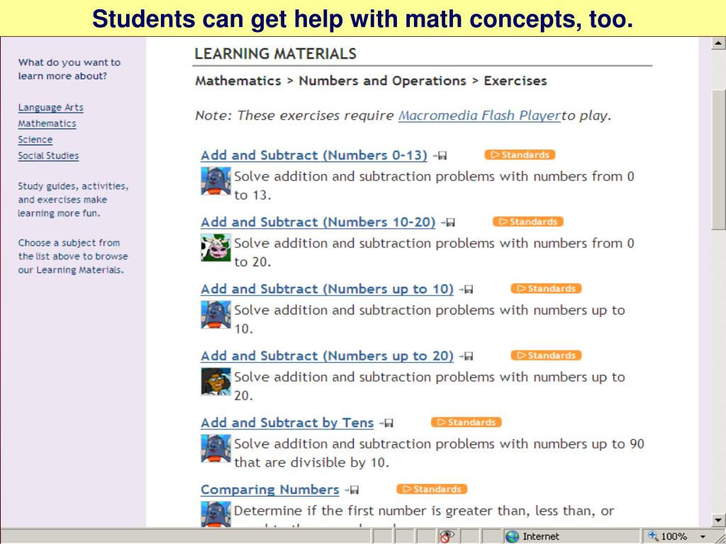 Students can get help with math concepts, too.