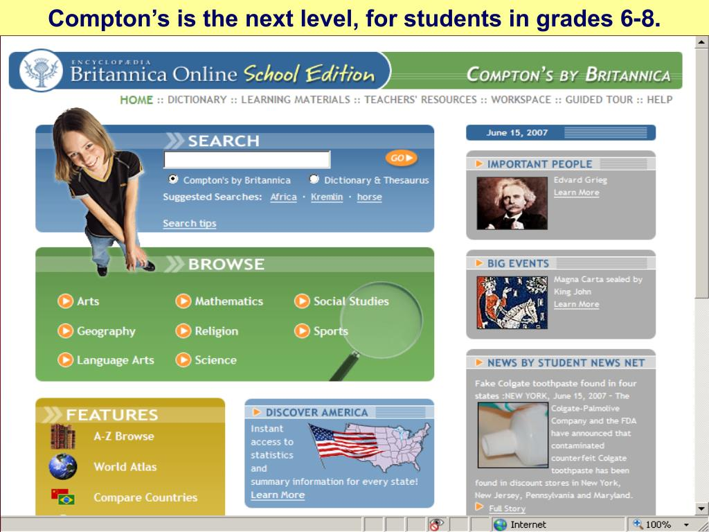Compton's is the next level, for students in grades 6-8.