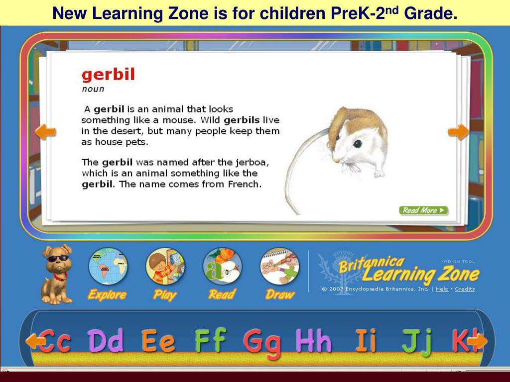 New Learning Zone is for children PreK-2