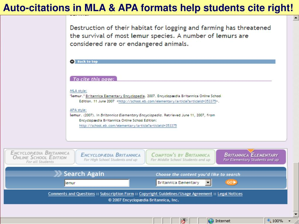 Auto-citations in MLA & APA formats help students cite right!
