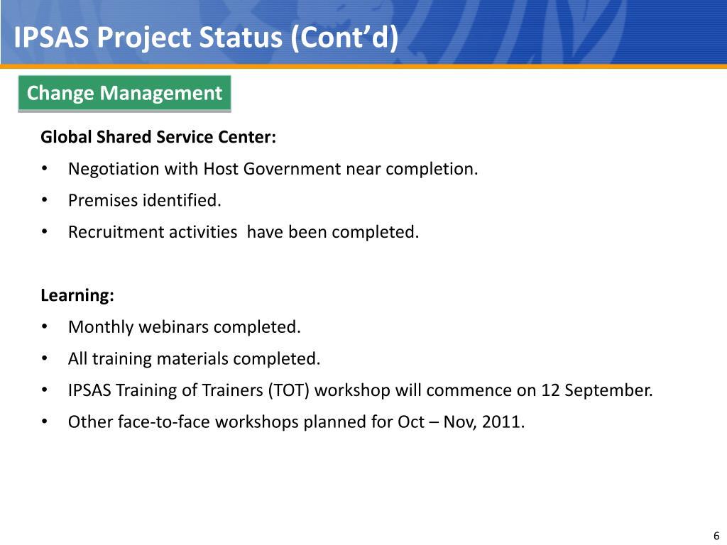 IPSAS Project Status (Cont'd)