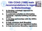 15th coag 1999 main recommendations in regard to biotechnology