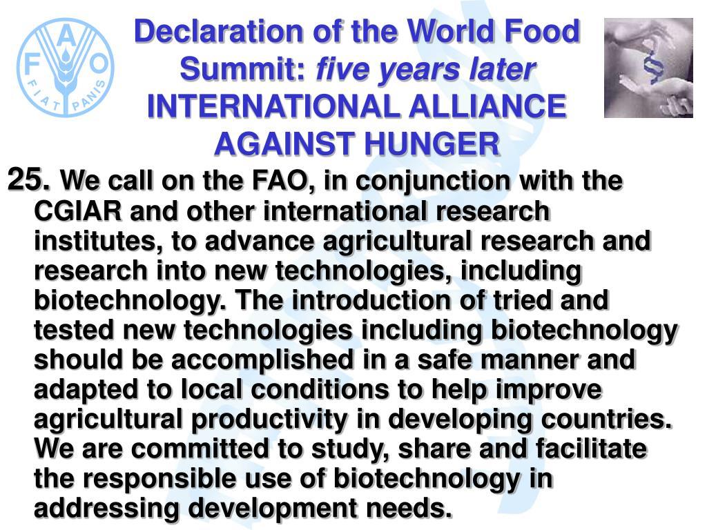 Declaration of the World Food Summit: