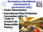 developing international instruments of governance ctd