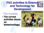 fao activities in science and technology for development7