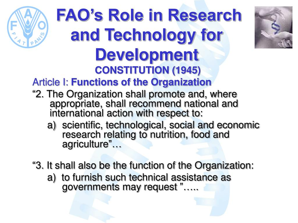 FAO's Role in Research and Technology for Development