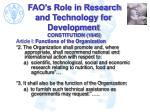 fao s role in research and technology for development