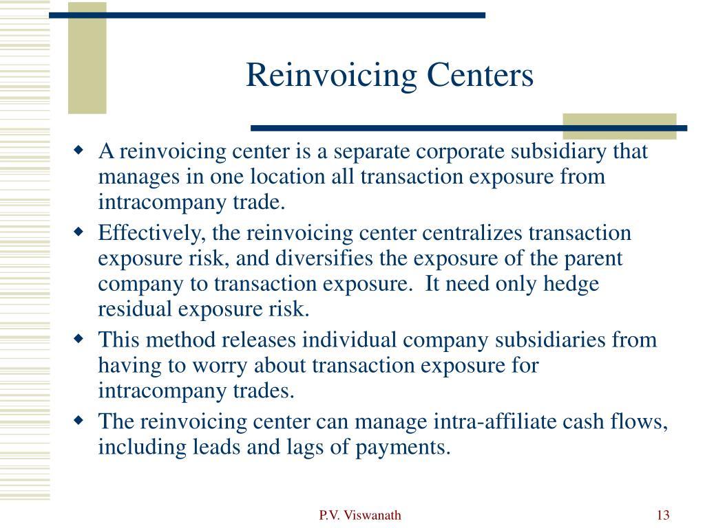 Reinvoicing Centers