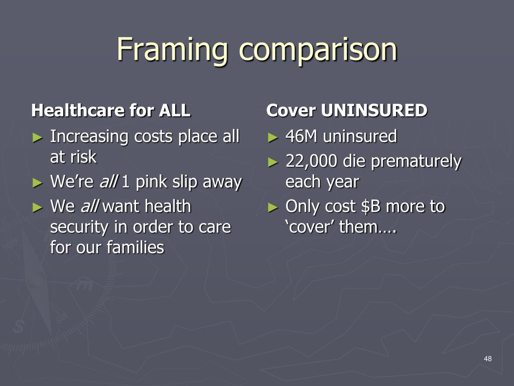 Framing comparison