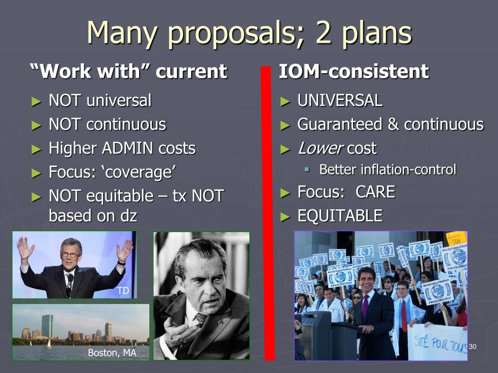 Many proposals; 2 plans