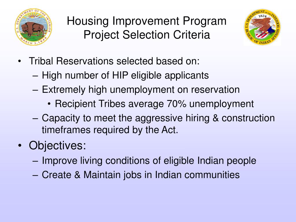 Housing Improvement Program Project Selection Criteria