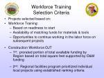 workforce training selection criteria