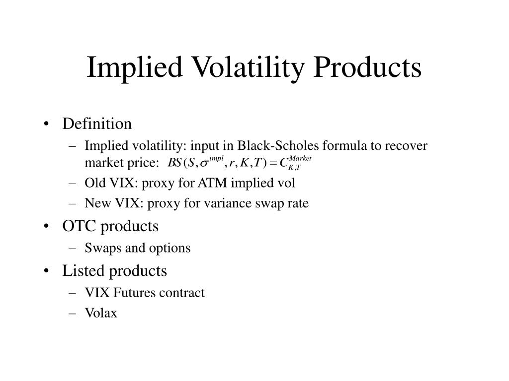 Implied Volatility Products