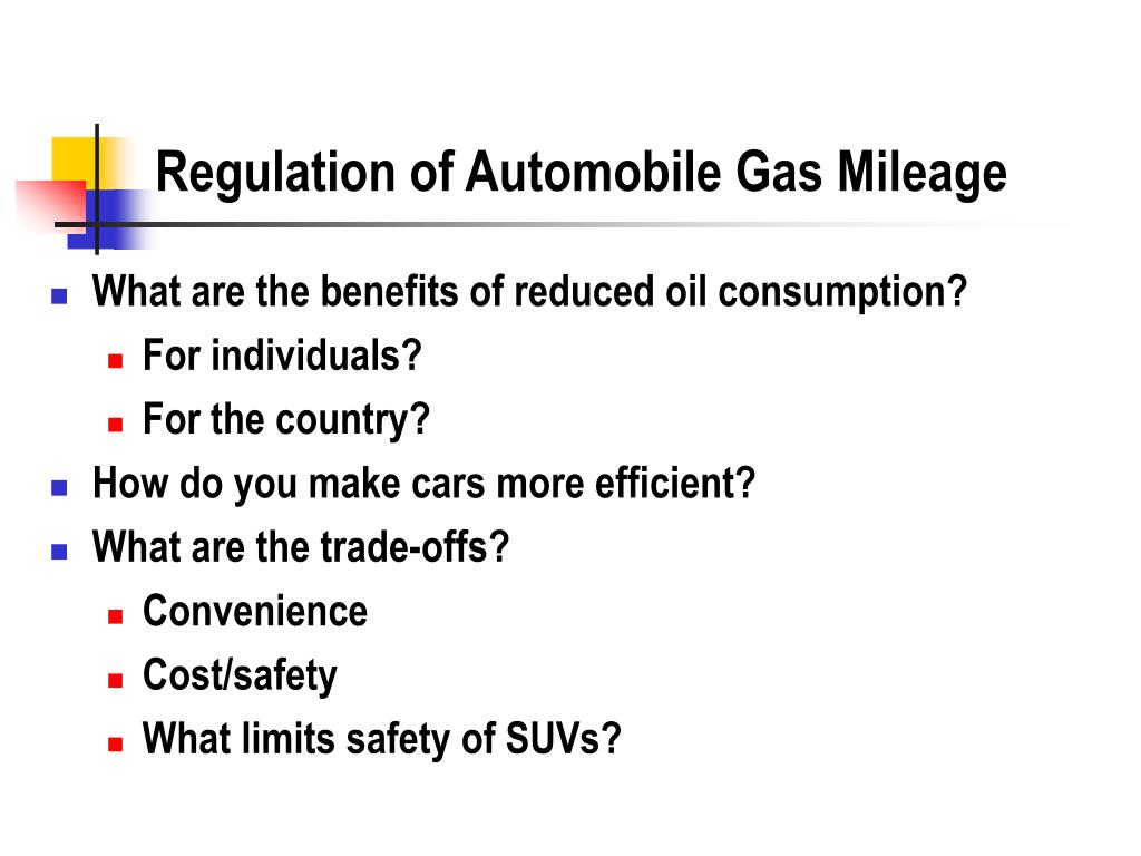 Regulation of Automobile Gas Mileage