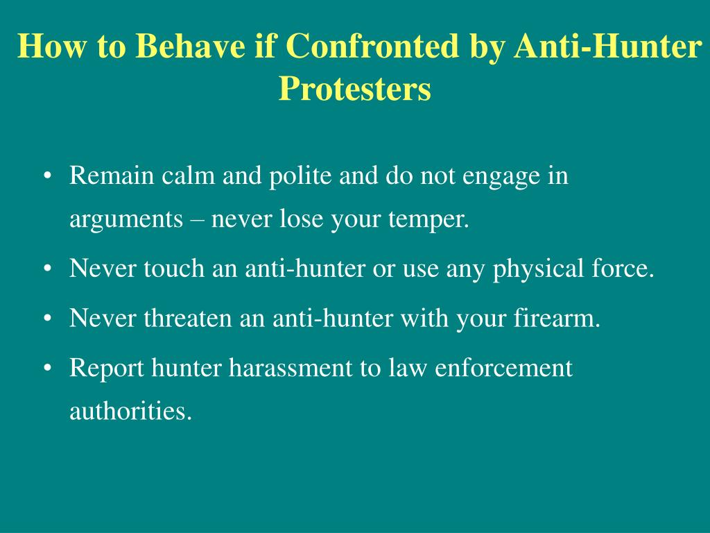 How to Behave if Confronted by Anti-Hunter Protesters