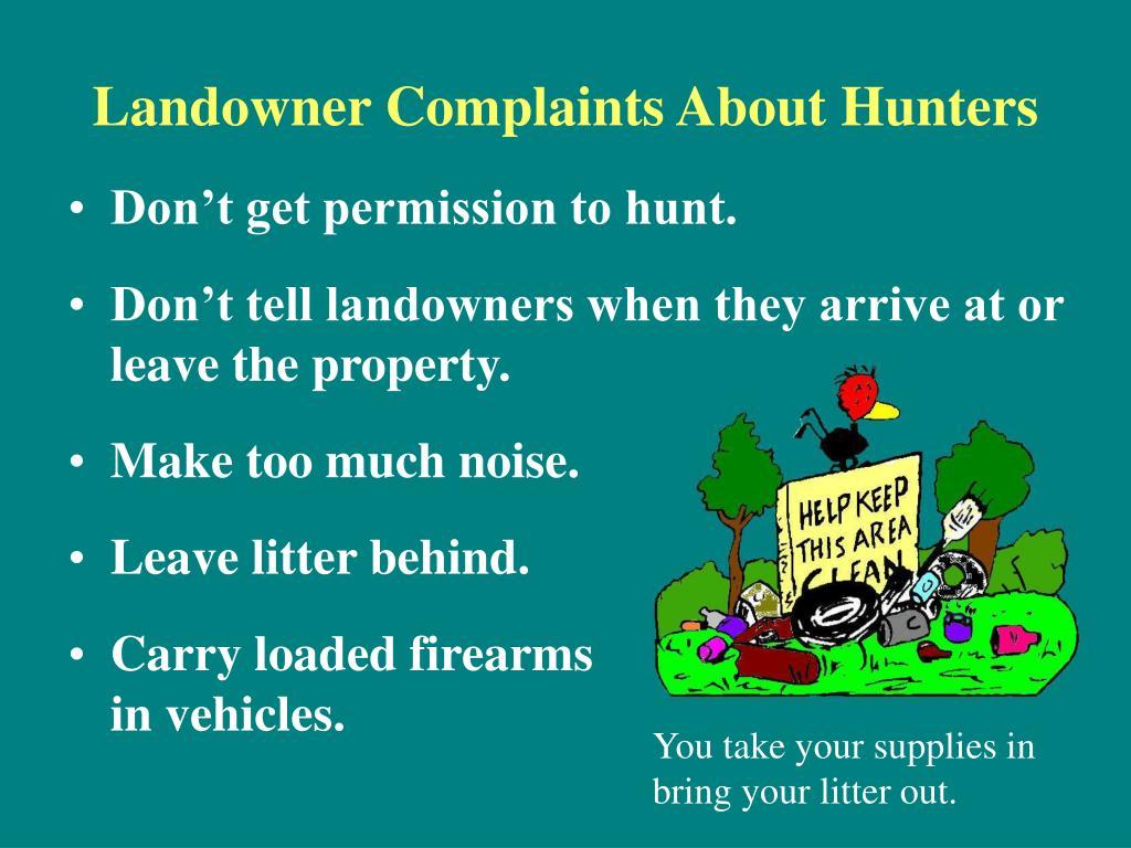 Landowner Complaints About Hunters