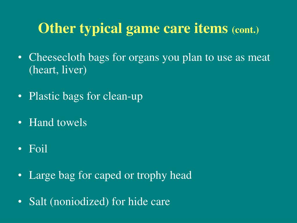 Other typical game care items