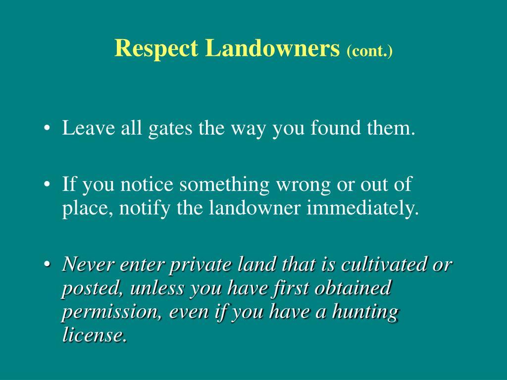 Respect Landowners