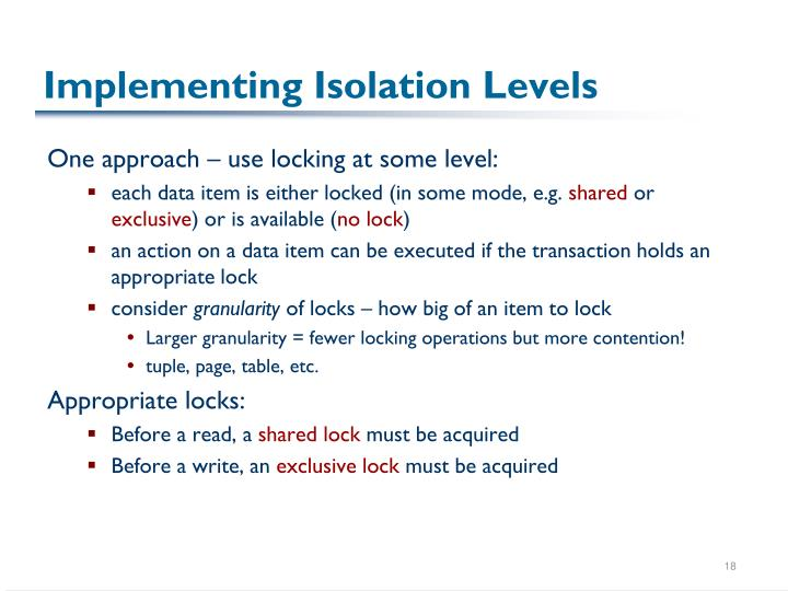 Implementing Isolation Levels