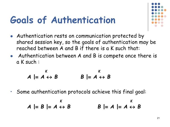 Goals of Authentication