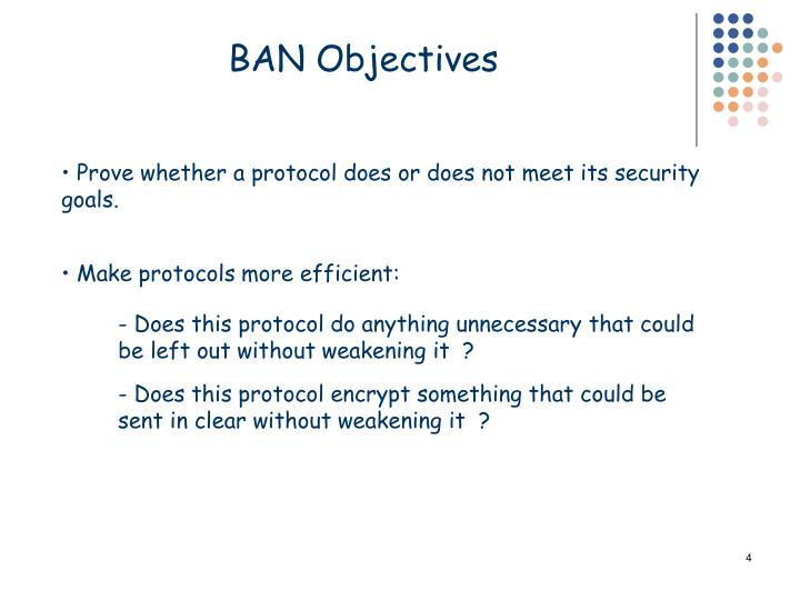 BAN Objectives