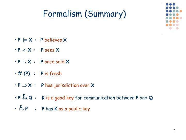 Formalism (Summary)