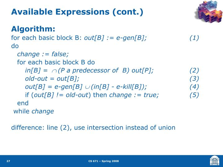 Available Expressions (cont.)