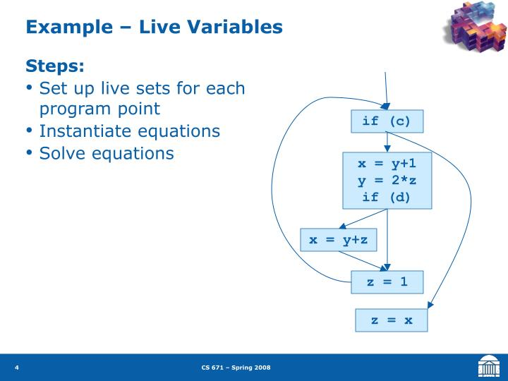 Example – Live Variables
