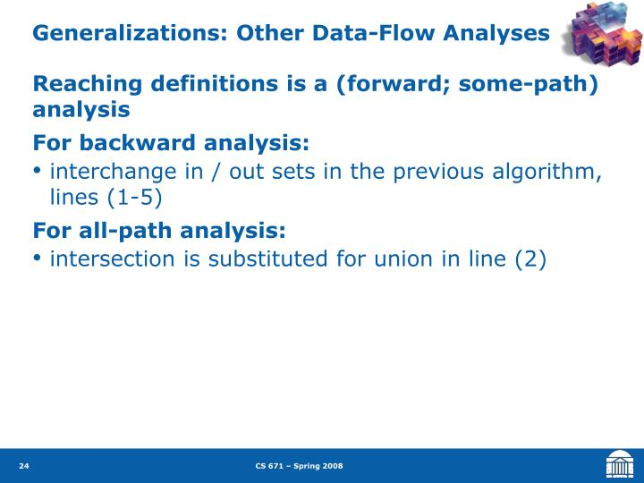 Generalizations: Other Data-Flow Analyses