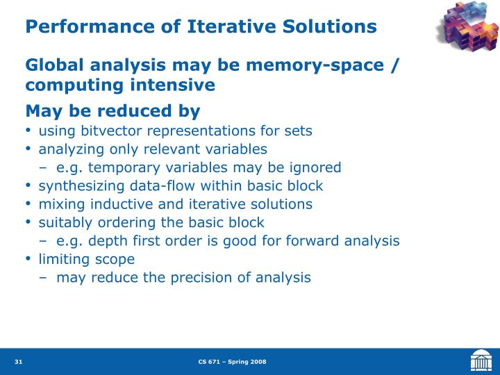 Performance of Iterative Solutions
