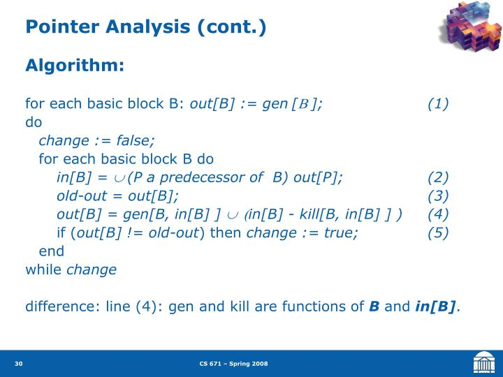 Pointer Analysis (cont.)