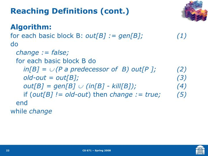 Reaching Definitions (cont.)