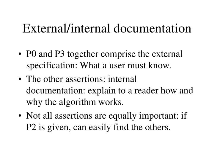 External/internal documentation