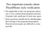 two important remarks about floyd hoare style verification