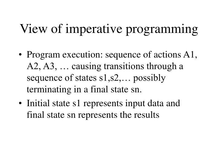 View of imperative programming