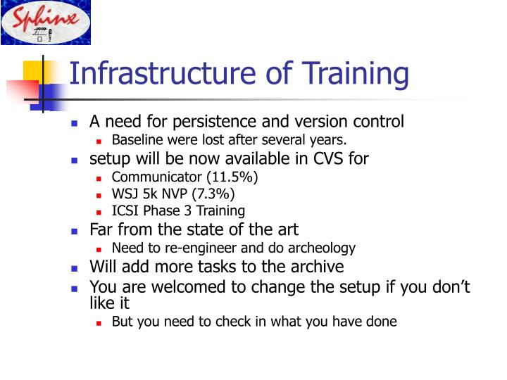 Infrastructure of Training