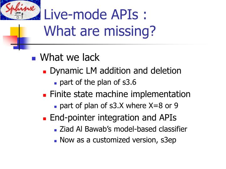 Live-mode APIs :