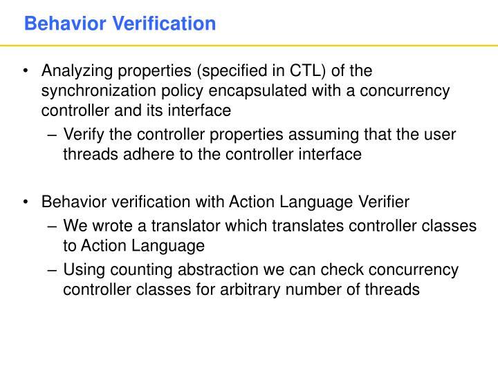 Behavior Verification