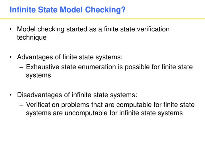 Infinite state model checking
