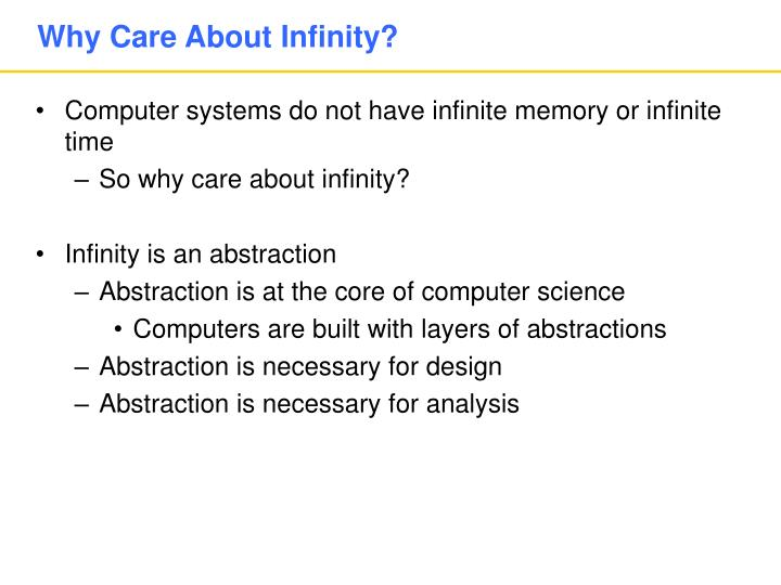 Why Care About Infinity?