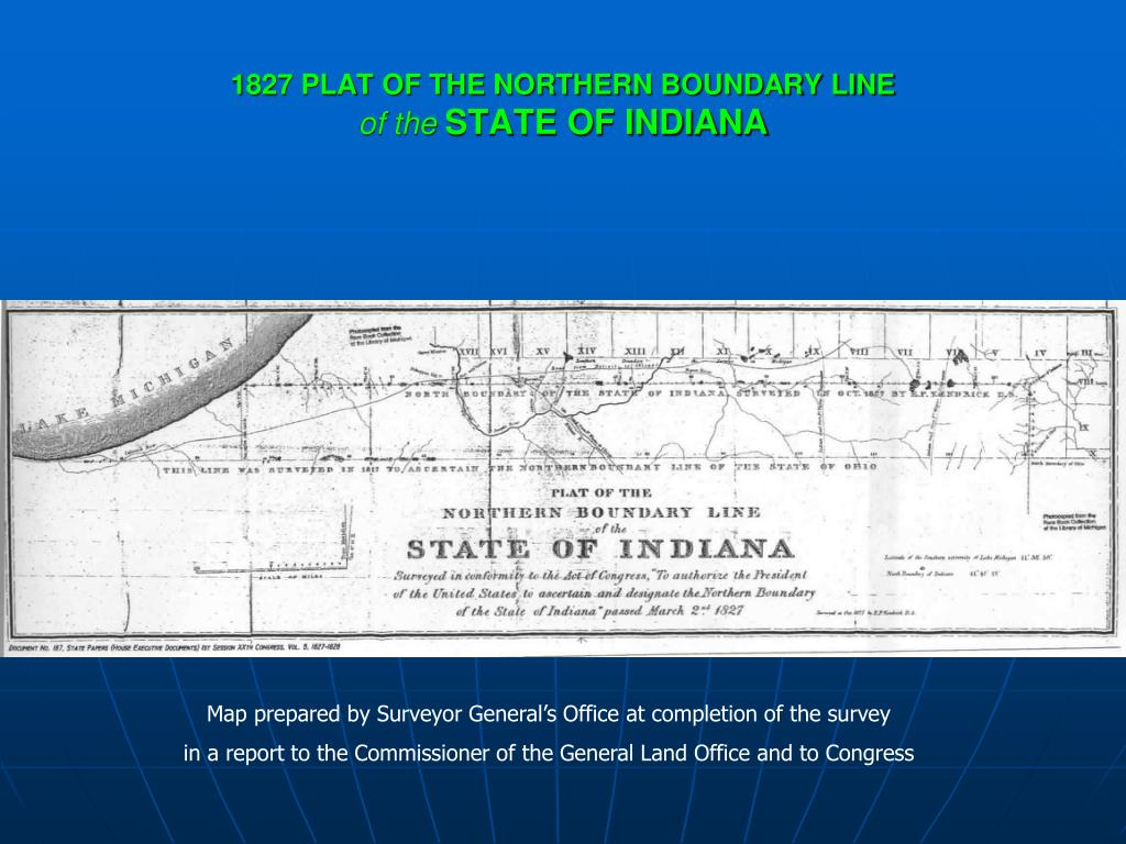 1827 PLAT OF THE NORTHERN BOUNDARY LINE