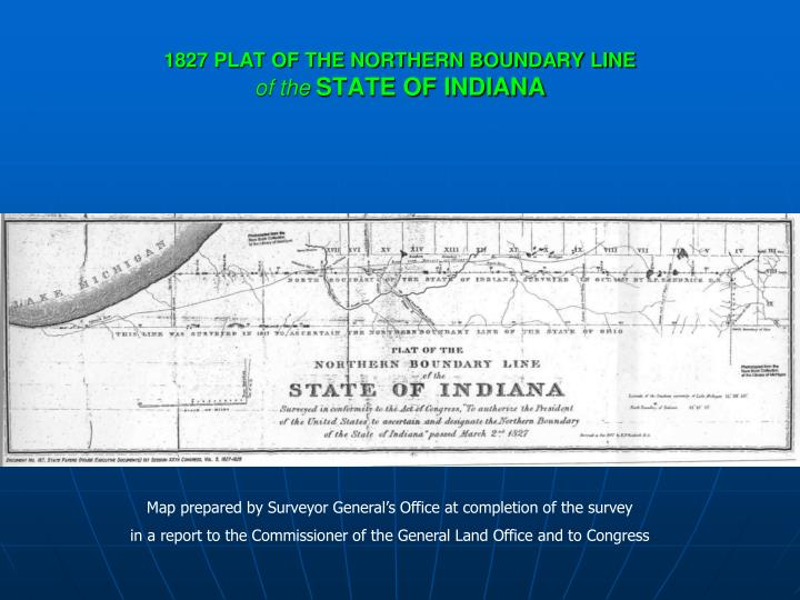 1827 plat of the northern boundary line of the state of indiana