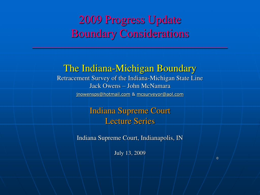 2009 progress update boundary considerations