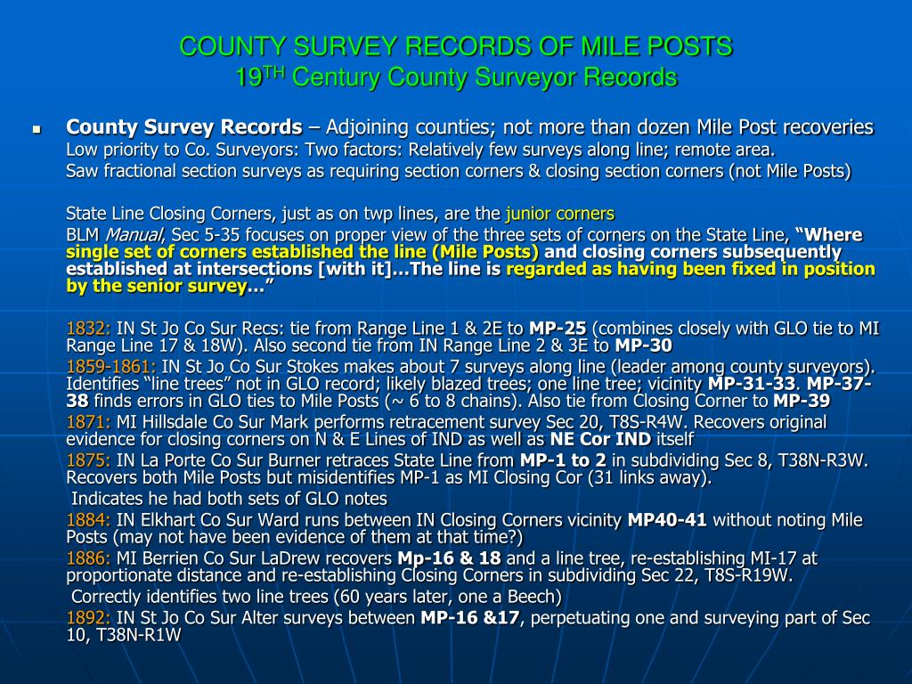 COUNTY SURVEY RECORDS OF MILE POSTS