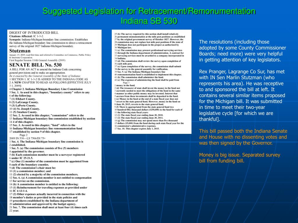 Suggested Legislation for Retracement/Remonumentation