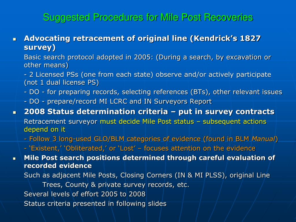 Suggested Procedures for Mile Post Recoveries